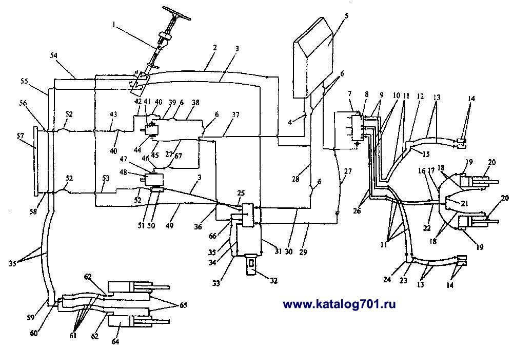 Схема гидравлических систем управления поворотом и навесного оборудования трактора К-744.